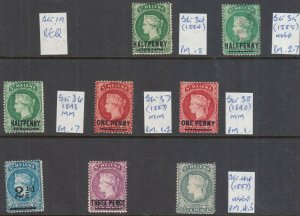 ST HELENA 1884-1894 MINT/USED VALUES SG34, TO SG37, SG38, SG40, SG41 AND SG44