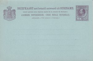 Suriname 5 ct. Postal Card with Attached Reply Card