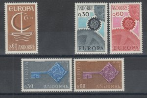 Andorra, French Sc 172//189 MLH. 1966-68 EUROPA, 3 complete sets, VF