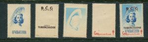 1948 France Christmas Seals Greens #31 Plus PCP (Proof Set) MNH