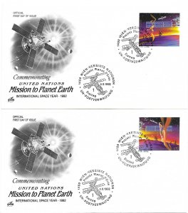 1992 UN FDC, Vienna #133-134, Mission to Planet Earth, Art Craft cachet (2)