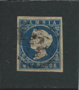 GAMBIA 1869-72 6d DEEP BLUE G/FU SG 3 CAT £200