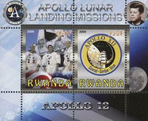 Rwanda Apollo 12 Lunar Landing Missions Souvenir Sheet of 2 Stamps Mint NH