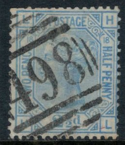 Great Britain #68 Plate #18  CV $45.00  Manchester numeral cancellation