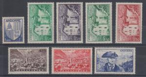 Andorra, French Sc 114//123 MNH. 1949-1951 Pictorials, 8 diff from set VF