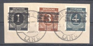 Germany #530, 532-533 Used on Paper CDS with Scarce Overprint TYPE a C$750.00