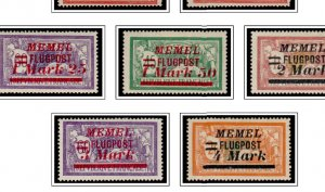 COLOR PRINTED MEMEL 1920-1923 STAMP ALBUM PAGES (14 illustrated pages)