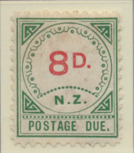 New Zealand Stamp Scott #J8, Unused, No Gum, Toning, Large D & NZ - Free ...