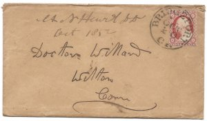Doyle's_Stamps: 1852 Connecticut Postal Cover w/Scott #10A & Background!