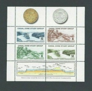 Canal Zone Study Group CZSG Souvenir Sheet Of Coins & Stamps Of Rejected-----