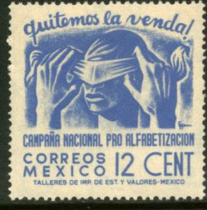 MEXICO 808, 12cents Blindfold, Literacy Campaign MINT, NH. F-VF.