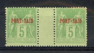French Offices in Port Said Scott 5a Mint NH (gutter pair) - CV 230 Euros