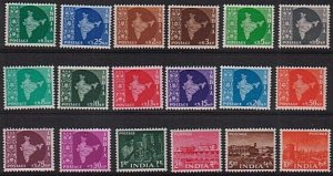 INDIA 1958 Map definitive set complete fresh MNH...........................78984