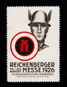 REKLAMEMARKE POSTER STAMP REICHENBERGER MESSE 1926 TSCHECHOSLOWAKEI MNH-OG
