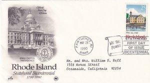 1990, Bicentennial Rhode Island Statehood, Art Craft/PCS, FDC (E11622)