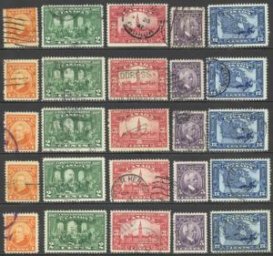 Canada Sc# 141-145 Used Lot/10 sets 1927 60 Anniversary/Confederation