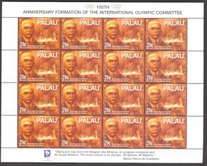 PALAU 1994 Pierre de Coubertin OLYMPICS Issue in Miniature Sheet Sc 327 x16 MNH