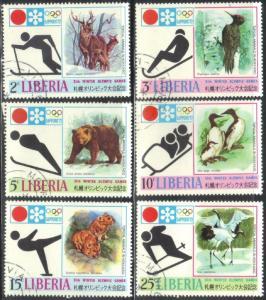 LIBERIA SC# 577-582 SET **MNH**  CTO 1971  OLYMPICS 72  SEE SCAN