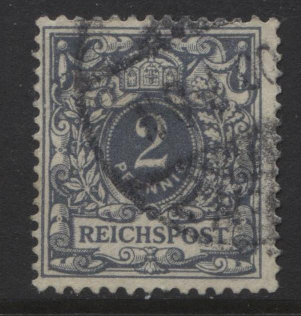 GERMANY. -Scott 45 - Definitives -1900 - Used - Grey -Single 2pf Stamp