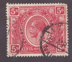 Kenya Uganda & Tanzania 34 Used 1922 5sh Carmine KGV Issue Very Fine
