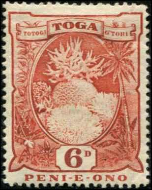Tonga SC# 46 SG# 47 Coral 6d MH small thin, toned gum