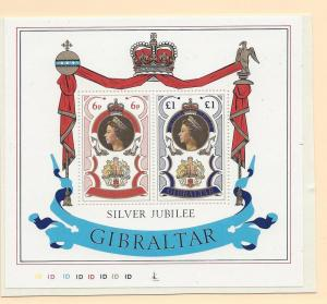 Gibraltar, 339a, Silver Jubilee 1977 S/S of 2 w/Control # '1D', MNH