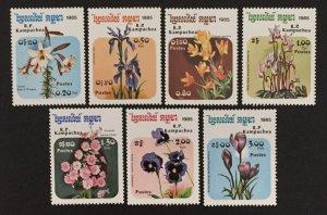 Cambodia 1985 #596-602, Flowers, MNH.