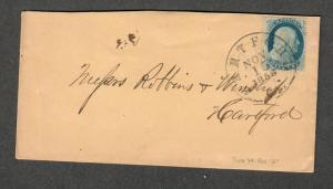 US Sc#24 Type Va Pos 13R5, 1858 Hartford CT Cover, Doporto Cert., Cv. $400
