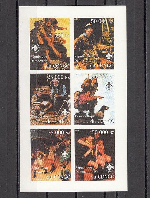 Congo, Dem. 1999 Cinderella issue. N. Rockwell`s Scout Illustrations. IMPERF.