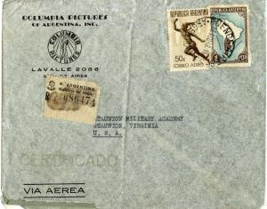 Argentina Scott C44, and Map On Registered 1948 Air Cover to Staunton, Virginia