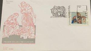 A) 1992, SPAIN, CHRISTMAS, FDC, JESUS BIRTH STAMP