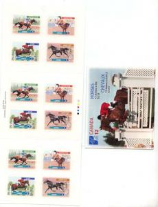 Canada - 1999 46c Horses Bklt Cpl. #BK220a Mint (3 each of 1795-8) Self Adhesive