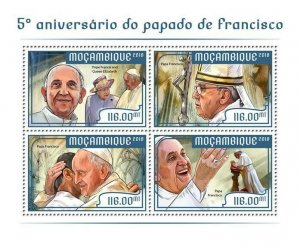 Mozambique Pope Francis Stamps 2018 MNH Popes People Queen Elizabeth II 4v M/S