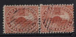 Canada #15iv VF Used Pair  **With VGG Cert.**