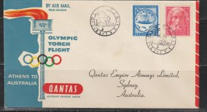 Greece  Olympic Torch Flight Cover. Athens to Australia