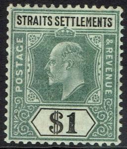 STRAITS SETTLEMENTS 1904 KEVII $1 WMK MULTI CROWN CA