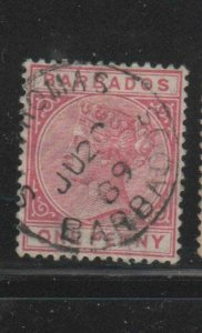BARBADOS #61  1882  1p   QUEEN VICTORIA    F-VF  USED   i