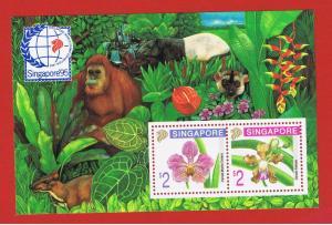 Singapore  #717b  MNH OG Souvenir Sheet of 2  Flowers  Free S/H