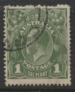 Australia - Scott 62 - KGV Head -1918 - FU - Wmk 11 - 1p Stamp1