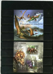 ST.THOMAS & PRINCE ISLANDS 2011 DINOSAURS 2 SHEETS OF 2 STAMPS MNH