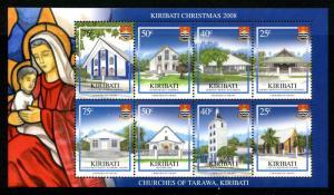 Kiribati Christmas Stamps 2008 MNH Churches of Tarawa Architecture 8v M/S