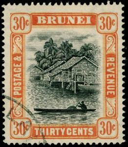 BRUNEI SG88, 30c black & orange, FINE USED.
