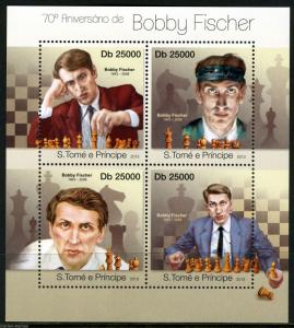 SAO TOME  2013 70th BIRTH  ANNIVERSARY BOBBY FISCHER  CHESS  SHEET  MINT  NH