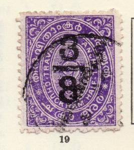 Travancore 1906 Early Issue Fine Used 3/8ch. Surcharged 268200