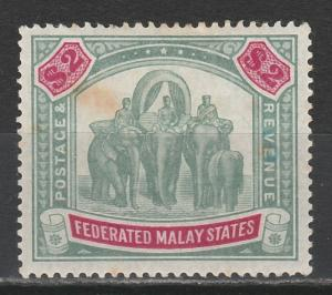 FEDERATED MALAY STATES 1900 ELEPHANTS $2 WMK CROWN CC