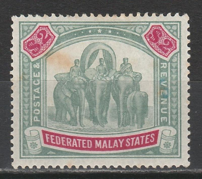 FEDERATED MALAY STATES 1900 ELEPHANTS $2 WMK CROWN CC