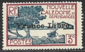 NEW CALEDONIA 1941 3c Scenic View Overprinted FRANCE LIBRE Sc 219 MH