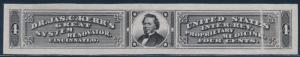 #RS159TC1ae 4¢ BLACK LARGE TRIAL COLOR DIE ON INDIA PAPER W/ PPF ERROR BT4856