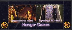 Chad 2014 Hunger Games #3 perf sheetlet containing 2 valu...