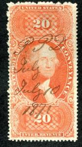 U.S. R98c used, $20 Conveyance, perf, F-VF good color